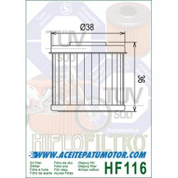 FILTRO DE ACEITE HIFLOFILTRO  HF116