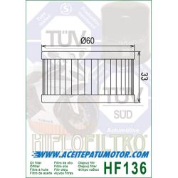 FILTRO DE ACEITE HIFLOFILTRO  HF136