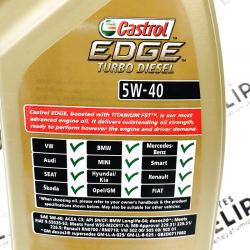 ACEITE CASTROL EDGE TITANIUM FST TURBO DIÉSEL 5W40 1 LITRO
