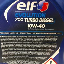 ACEITE ELF EVOLUTION 700 TURBO DIÉSEL 10W40 5 LITROS