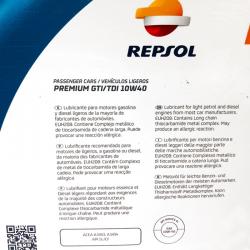 ACEITE REPSOL PREMIUM GTI/TDI 10W40 5 LITROS