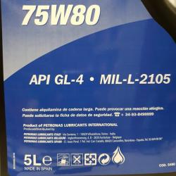 ACEITE PETRONAS GL 4  75W-80 5 LITROS