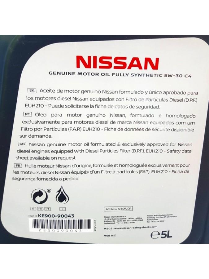 ACEITE NISSAN MOTOR OIL 5W30 C4 DPF 5 LITROS