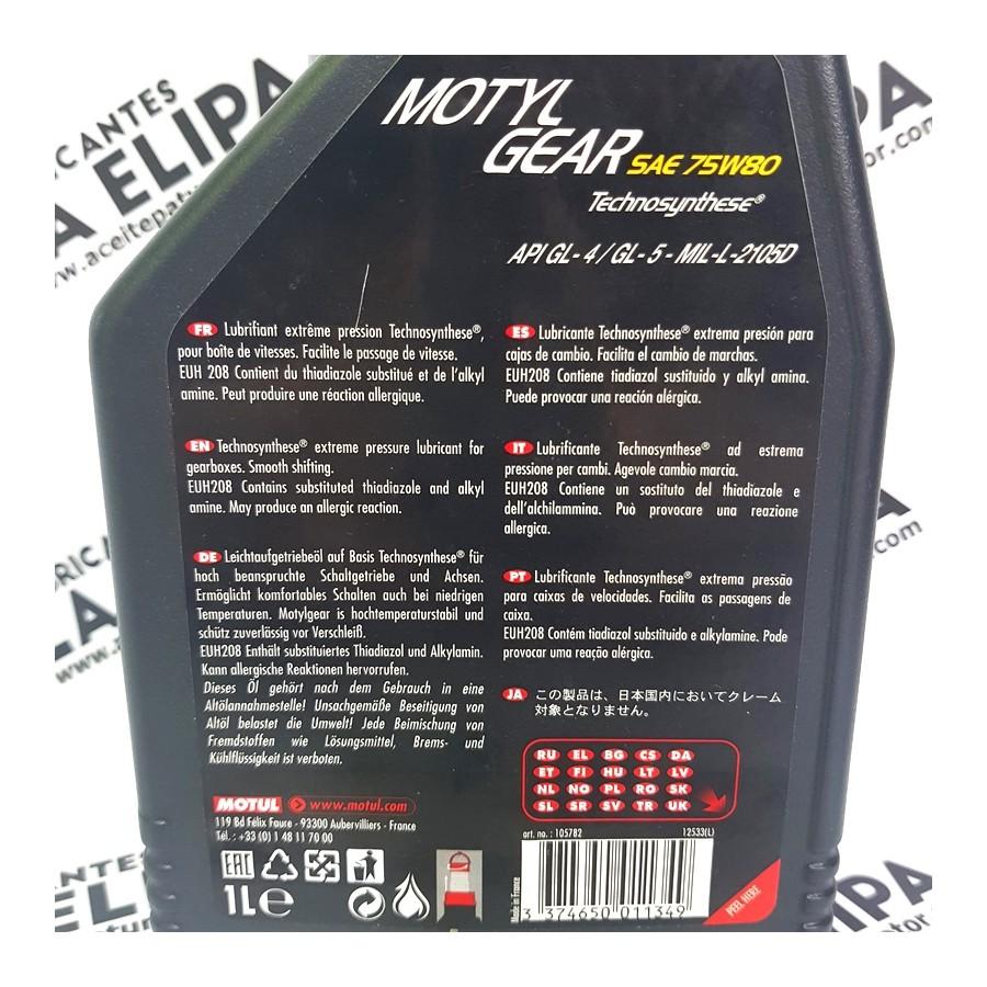 ACEITE MOTUL MOTYL GEAR SAE 75W80 1 LITRO